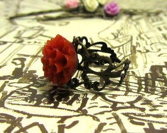 dark red Crysanthemum  adjustable ring or choose your own
