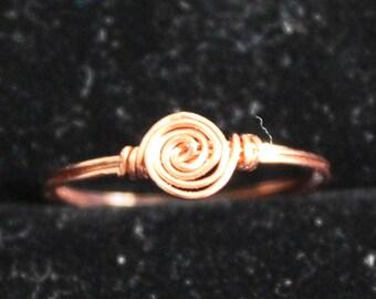Copper Swirl Ring Size 7