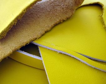 Leather scrap - half pound - Lemon Yellow