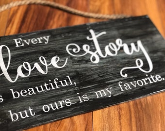 Love Story, handmade wooden sign