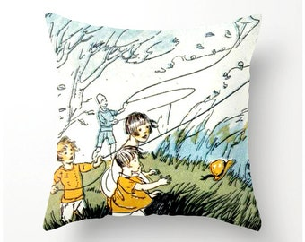 Decorative Throw Pillow Flying Kites on a Blustery Afternoon vintage print pillow cover, accent pillow home decor, cushion cover,  bedding