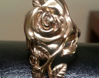 MADE TO ORDER  9ct gold rose ring alternative steampunk gothic art nouveau victorian