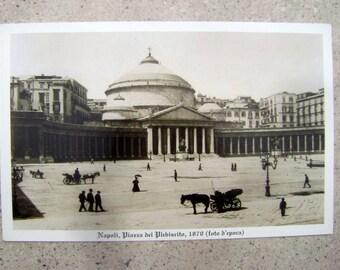 1870 Naples Italy,Antique Market,Antique photo,Vintage landscape,Piazza del Plebiscito,Photo Postcard,Napoli,Italia, Old Photos Antique