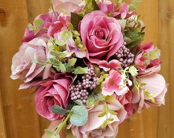 Wedding Bouquet, Roses, Foliage, Wedding Flowers, Bridal, Artificial Flowers, Silk Flowers, Weddings