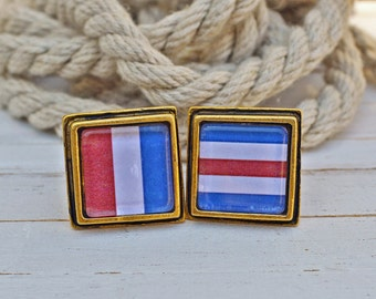 Antiqued Gold Square Cuff Links - Nautical Flags