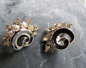 Crown Trifari Rhinestone Clip on Earrings - Signed Costume Earrings