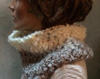 Chunky crochet cowl  Cowl circle scarf, Hand crochet cowl scarf, crochet circle scarf, infinity scarf, chunky winter scarf, womens accesory