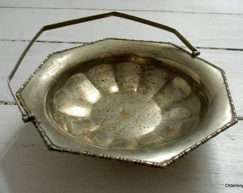 Vtg c1920s Holy Water bowl collectible holy water metal dish vtg water bowl religious bowl epns metal tray vintage bowl with handle H05/242