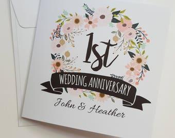 1st anniversary card etsy