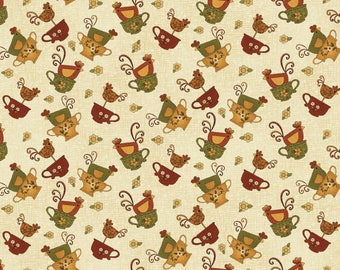 """NEW Chicks on the Run Craft 100% Cotton Quilt Fabric 44"""" wide X ONE Yard -Tan Chicken in a Cup"""