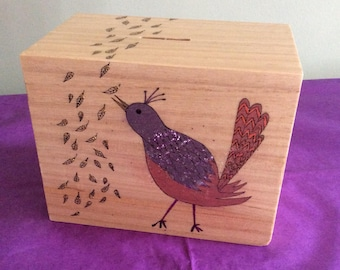 Wooden Money Box, Bird Illustration, Original Artwork, Bird Lovers Money Box, Bird Lovers Gift, Bird Art, Original Painting