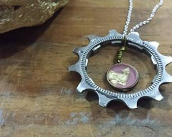 Bicycle Gear and Gold Necklace- reclaimed bicycle parts OOAK, cyclist gift, Vintage Gold Leaf