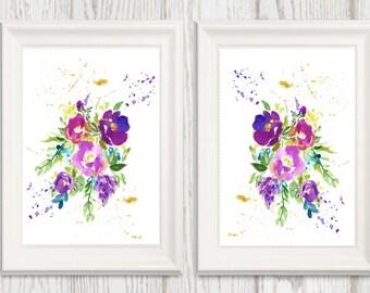 Set of 2 Purple Flower Wall art Printable Purple Gold Lavender Floral Watercolor Home decor Flower art 5x7 8x10 11x14 16x20 INSTANT DOWNLOAD