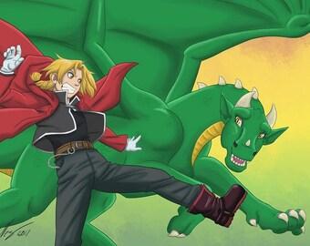 Character Crossover Wallpaper (Digital), Laeka'Draeon and Edward Elric