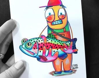 "Bob Fly Fishing Cartoon Series No Filter Art Print 5""x7"""