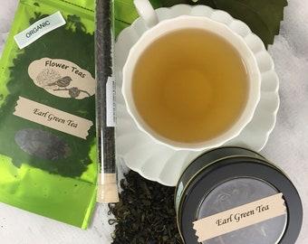 Earl Green Tea Loose Leaf Green Earl Grey in Tin Pouch or Test Tube