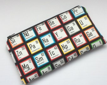Science/chemistry/periodic table pencil case, fully lined with atomic fabric - gift for Chemistry student/teacher - handmade in Cornwall