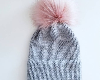 Double Brim Toque   Rose Pompom   Adult Hat   Adult Toque   Faux Fur Pompom