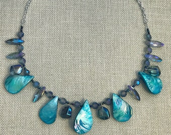 Blue iridescent shell mermaid necklace