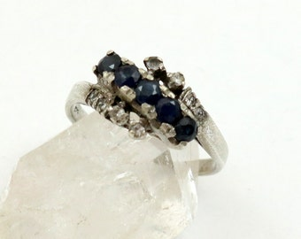 Vintage Sapphire Ring, Sterling Silver, Blue Sapphire, White Spinel, Estate Ring, US Size 6-3/4, UK Size N