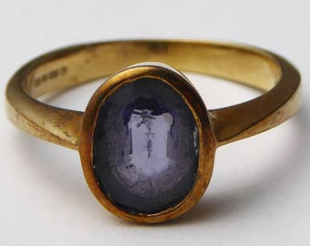 Vintage C1990s 9ct Yellow Gold & Iolite Solitaire Ring