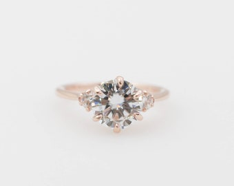 Round Forever One Moissanite Engagement Ring, Rose Gold Ring, Moissanite Accents Ring