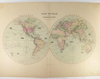 antique world map hemispheres map 1873 large vintage map of the world in hemispheres unique