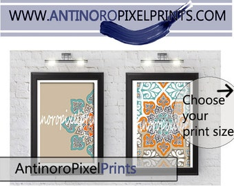 Set of Two Ikat Damask Prints, Orange blue khaki  Art Print  -  (2) Wall Art Prints, Custom Colors, Sizes Available (Unframed)