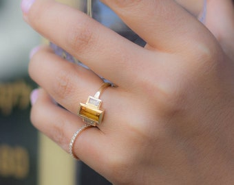 Citrine Baguette Gold ring, Citrine Ring, Baguette Ring, Citrine Gold Ring, Gold Citrine Ring, White Sapphire Ring, Citrine and Sapphire