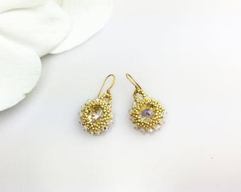 Swarovski crystals  gold handmade earrings, Dangle earrings, small earring, Drop earring