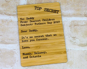 Fathers Day Secret Dossier Card - Fathers Day Gift