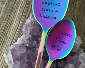 "Hand Stamped ""Unicorn"" Spoon, Rainbow Galaxy spoon"
