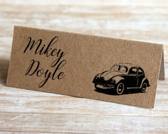 VW Volkswagen Beetle 'Bug' Personalised Wedding & Party Table Place Name Tent Cards