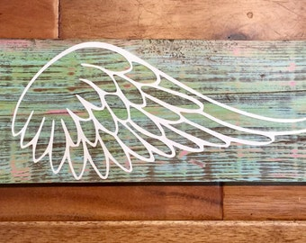 Angel wing wood sign