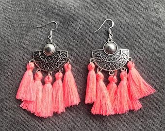 Ethnic earrings neon pink agate