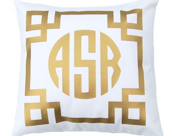 Monogram Pillow - Custom Pillow - Personalized Gift - Gold Foil Pillow - Metallic Gold - Decorative Pillow - Dorm Decor - Graduation Gift