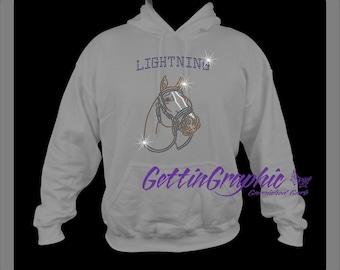 Rhinestone horse head hoodie, custom to your horse, horse rhinestone, Horse lover, gift for horse lover, horse owner, horse, equestrian.