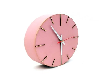 FREE SHIPPING Wall Clock, Powder Pink Wood clock, Wall clock Rouge, Wall hanging ellipse Clock for Her, Pink wall decor, Winter sale