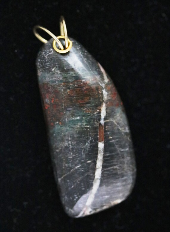 Dinosaur Bone Pendant, fossilized brown, brass twirl bail 78ct