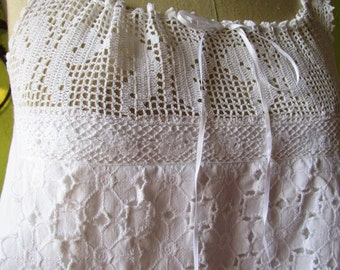 Edwardian Cotton Eyelet Crochet Lace  White Vintage Remix Babydoll Top M