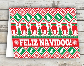 Feliz Navidog, Christmas Card, Dog Greeting Card, Dog, Dogs, Dog Cards, Christmas Dog, XMAS, Xmas Card, Puppy, Holiday Card, Bark