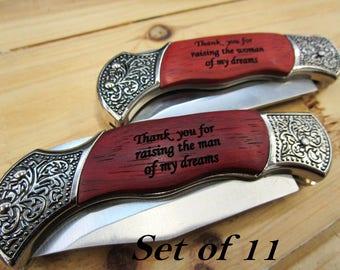 Set of 11 Groomsmen Gift - Personalized Pocket Knife