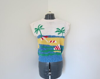 Vintage 1980s Short Sleeve Novelty Sweater - Tropical Beach Scene - Womens Bust 36 by Lady Van Heusen (B1)