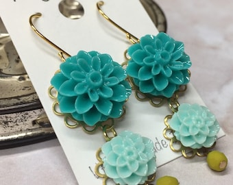 Turquoise and Teal Flower Dangle Earrings