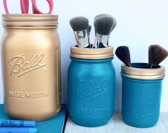 Mason Jar Set - Office Organization - Dorm Accessories - Blue Mason Jars - Repurposed Glass - Bathroom Storage - Gold Storage - Mason jars