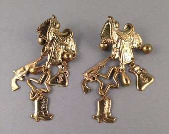Vintage Gold Cowgirl Charms Post Earrings 3.25 Inches Long and 1 and 3/8 Inches Wide Light Weight Earrings Previously Twenty Dollars ON SALE
