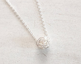 Sterling Silver Necklace - Silver Love Knot Necklace, Tie The Knot Necklace, Bridesmaids Gifts, Layering Necklace, Wife Gift Birthday Gifts