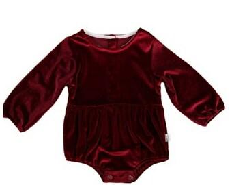 Velvet Romper   Jumpsuit   Onesie   Baby Girl