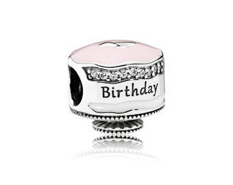 Authentic Pandora Happy Birthday Cake B-Day Charm Bead Clear CZ Mixed Enamels Pink Frosting 792061ENMX