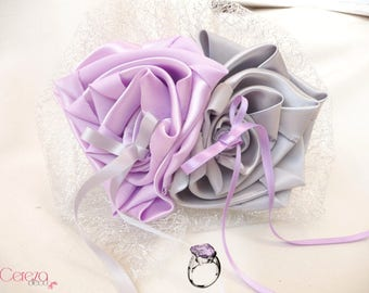 Ring bearer flower original mauve purple, gray and silver, personalized for a chic wedding